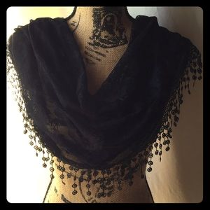 New Black Floral Lace Infinity Scarf w/Fringe